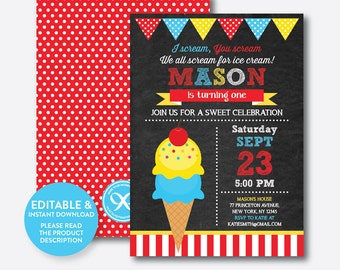 Instant Download, Editable Ice Cream Birthday Invitation, Ice Cream Invitation, Boy Ice Cream Party Invitation, Chalkboard (CKB.122B)