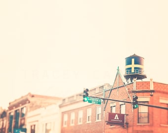 Chicago Wall Decor, Andersonville Art, Water Tower Photography, Swedish Flag, Clark Street, Urban Photograph