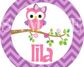 Personalized Owl Kids Chevron Melamine Plate Gift