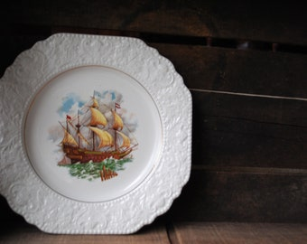 Antique vintage 40s, white porcelain, handcrafted , decorative plate with a beatiful print of the victorian era  ship.Made by Lord Nelson.