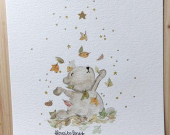 bear illustration plays in the leaves