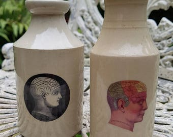 Vintage Victorian pot with black and white phrenology decal