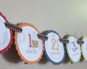 Harvest Fun Collection: Just Born/0-12 mos Picture Banner. Harvest First Birthday Banner. Pumpkin. Tractor. Fall. Autumn.