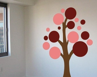 Lots of Circles Tree - Various Colors -  Wall Decals - Your Choice of Colors -