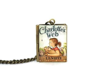 Charlotte's Web Book Locket Necklace