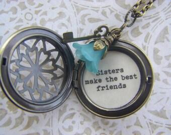 Sisters Locket necklace, sisters make the best friends, antique brass locket, bronze locket, sister gift