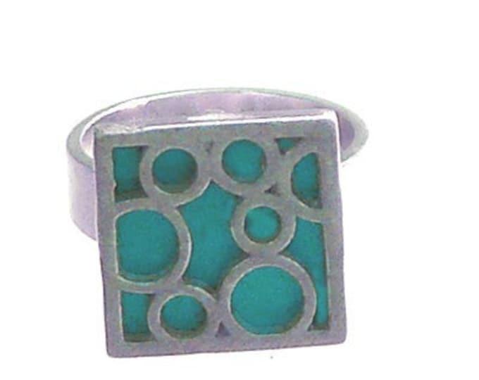 Small Square Bubble Ring in Aqua