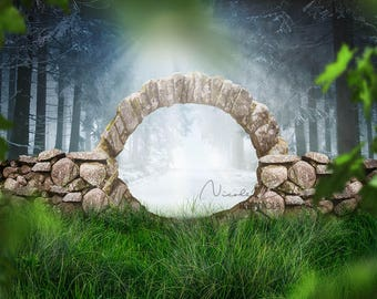 Gate to Winter, Two seasons Photo, premade Backdrop, Fantasy Backdrop, Story telling, Winter Landscape, Photo Manipulation, Photo edit