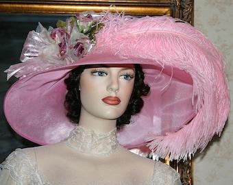 Kentucky Derby Hat, Ascot Hat, Edwardian Tea Hat, Titanic Hat, Royal Wedding Hat, Downton Abbey Hat, Women's Pink Hat - Run for the Roses