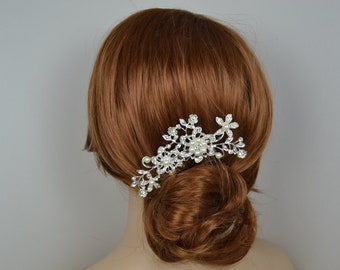Vintage Style Silver Plated Bridal Rhinestone Hair Comb with Pearls - Ready to Ship in 1-3 Business Days