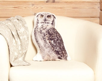 Owl Pillow, Stuffed Owl Toy, woodland nursery decor, nature inspired pillow, owl gifts for women, forest animals, cabin decor, lake house