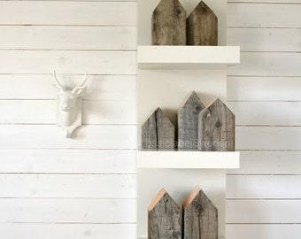 Small Swedish Houses - Decorative, Reclaimed wood 4 x 4 blocks