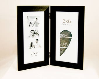 Double Photo Booth Frame, displays 2 photo booth pictures that are 2x6 inch