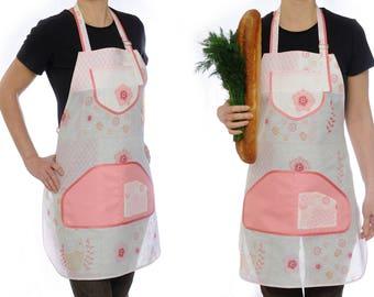 Cotton Apron Full Apron Cooking Apron Adjustable Apron Women Apron Cooking Gift Kitchen Apron Pinafore Apron Housewarming Gift Hostess Gift