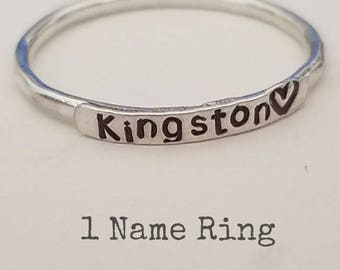 2mm Sterling Silver Stackable, Name, Mother's Rings, One Name, Ring, Customized, Name Rings Stackable, Beaded, Hammered, Set, Hearts