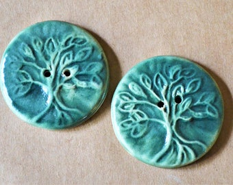 2 Handmade Ceramic Buttons in Deep Green - Extra Large Tree of Life Buttons - Focal buttons for Handmade Knits - Artisan Buttons