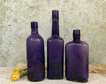 Vintage PURPLE BOTTLE Lot - Amethyst Antique Bottles- Instant Collection- Large Bottles- Wedding Table Decor- R89