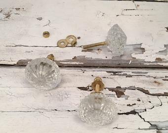 Clear Faceted Glass Knobs Instant Furniture Upgrade Drawer Knob or Furniture Pulls, Cabinet Supplies Item