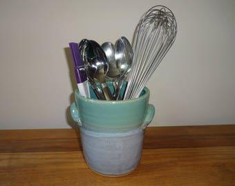 Pottery Utensil Holder, Pottery Crock, Kitchen Storage, Stoneware Pottery