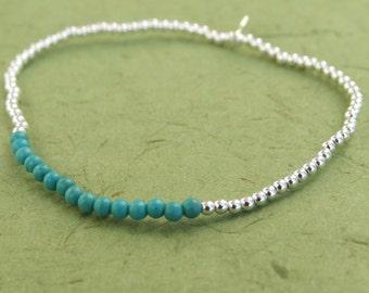 Sterling Silver Bracelet, Silver Charm Bracelet, Silver Turqoise Beads Bracelet, Stretch Bracelet, Beads Bracelet, Ball Bracelet