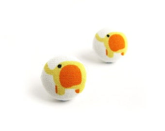 Elephant earrings - stud earrings - fabric button earrings - kawaii earrings for kids - orange yellow earrings children cute