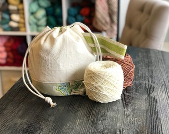 Fabric Yarn Bowl - Small Drawstring Bag - Knitting Project Bag - Crochet Project Bag - WIP - Sock Bag - Everything Bag - Drawstring Tote