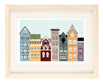 HELSINKI, FINLAND - 5 x 7 Colorful Illustration Art Print, Wall Decor, Buildings And Row Houses, Scandinavian Architecture