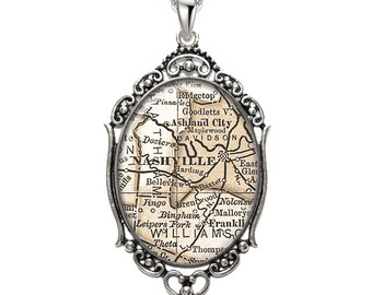 Map Pendant Nashville TN Oval Filigree Pendant Tennessee Necklace Art Pendant Photo Pendant Graphic Pendant