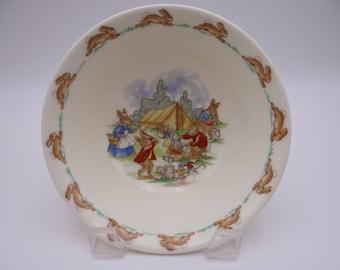 Vintage English Royal Doulton Bunnykins Coupe Cereal Bowl - Campsite