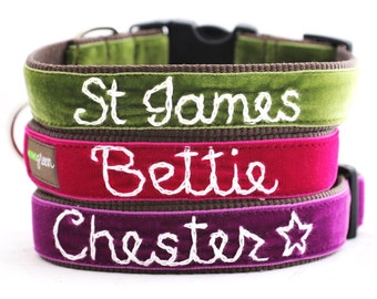 Personalized Velvet Dog Collar (20 colors available) - Custom Dog Collar - Hand Embroidered Collar with your dog's name- Monogram dog collar