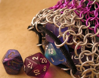 Chainmaille Dice Bag Silver with Color Choice