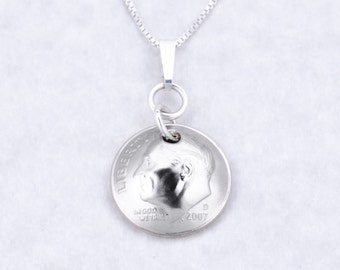 10th Anniversary Gift - 2008 Dime Coin Pendant Necklace Jewelry - Anniversary Gift for Daughter - Anniversary Gift for Sister