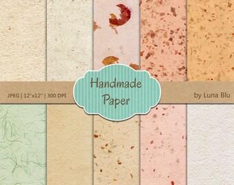 "Digital Texture Paper Pack: ""Handmade Paper"" recycled paper, textured backgrounds, handmade paper texture, textured digital paper"