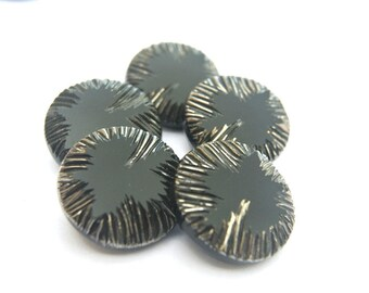5 Antique vintage buttons,black glass carvedbuttons 23mm