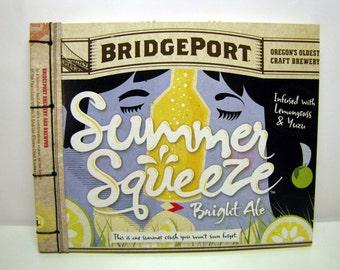 Summer Squeeze Sketches & Love Notes - Recycled Bridgeport Beer Journal, Notebook, Memo Pad, Yellow, Blue, Kiss, Portland, Haymaker, Chicken