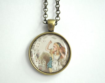 Alice in wonderland necklace, Alice pendant, alice necklace, Christmas gift, gift for her, pendant, bronze, young adult, Alice in Wonderland