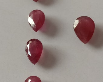 Natural Indian Flawless Ruby Faceted Pears Set Of Five Pieces