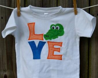 Personalized LOVE Gators Football Applique Shirt or bodysuit