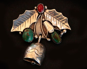 Vintage Navajo Brooch by Rinnie Leyba - Holly  accented with Turquoise and Coral , cir.