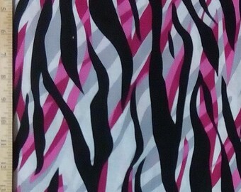 Zebra Black Gray Pink, Quilt or Craft Fabric, Fabric