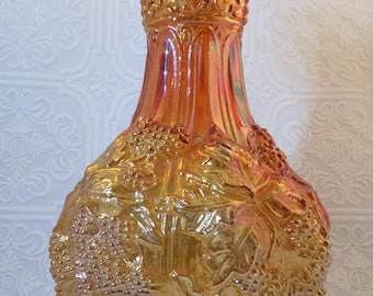 Vintage Imperial Carnival Glass Loganberry Vase in Marigold - Signed and Excellent Condition!