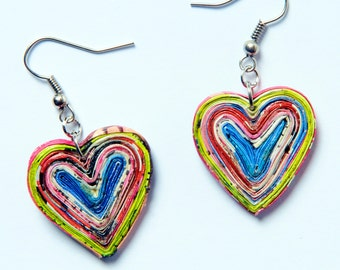Heart shape paper earrings, FREE SHIPPING, First Anniversary gift, Upcycled Recycled Paper Jewelry, eco friendly gift, first anniversary
