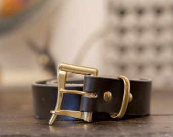 "1.5"" Black Bridle Leather Quick Release Belt with Solid Brass or Nickel Plated Hardware - Made to Order"