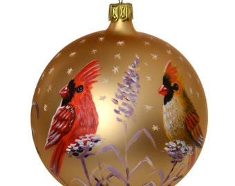 Cardinals Glass Christmas Ornament. Made in Belgium.