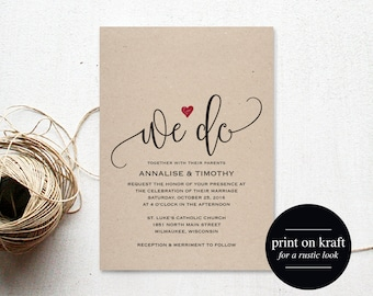 We Do Wedding Invitation Template, Rustic Kraft Invitation, Heart Wedding Invitation, Red, Kraft Printable, PDF Instant Download #BPB234_1