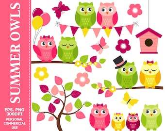 Summer Owls Clip Art - Owl, Summer, Flowers, Bunting, Branch, Butterflies Clip Art
