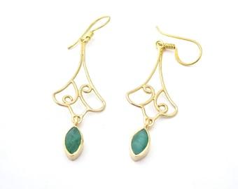 Emerald Earring, Green Earrings, Gold Earrings, Long Gold Earrings, Beautiful Jewelry, Unique Earrings, Gold Earrings, Stone Earrings, Boho