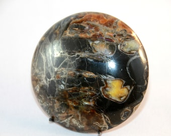 Natural Unikat Simbircitic Geode Cabochon, Ammonite with Silver Glittering Pyrite Geode 49x49x7mm, 183ct(53)