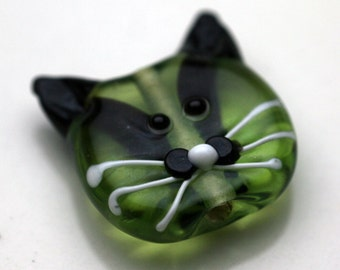 Black and Green Lampwork Glass Kitty Cat Bead