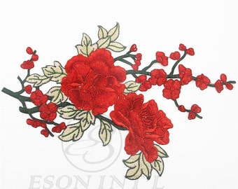 Red Flowers Patch Applique. Flower Patch ,Floral Applique. Sewing supplies.